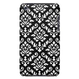 Branco barroco do teste padrão do damasco no preto capa para iPod touch