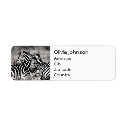 Branco bonito do preto do safari da natureza do etiqueta endereço de retorno
