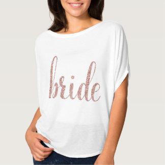 Branco & camisa cor-de-rosa da noiva do brilho do