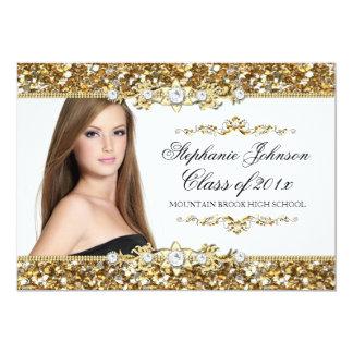 Branco & cartão da graduação do brilho da jóia do convite 12.7 x 17.78cm