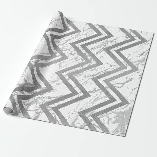 Branco cinzento de Chevron do ziguezague de Papel De Presente