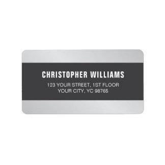 Branco cinzento de prata do falso elegante moderno etiqueta de endereço