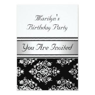 Branco clássico do preto da festa de aniversário convite 12.7 x 17.78cm