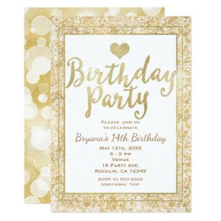 Branco & convite de aniversário do encanto do