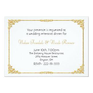 Branco & convite do jantar de ensaio do casamento