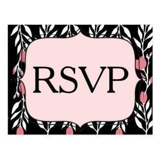 Branco cor-de-rosa de RSVP e preto florais Cartão Postal