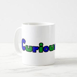 Branco curioso da caneca de café do logotipo 11oz