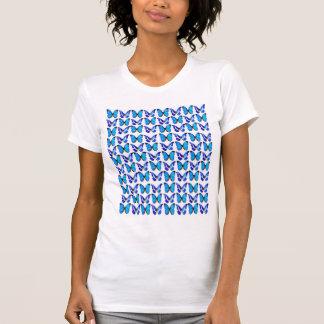 Branco da camisa do T das mulheres com borboletas