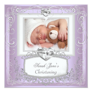 Branco da cruz do baptismo do batismo do Lilac do Convite Quadrado 13.35 X 13.35cm