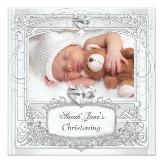 Branco da cruz do baptismo do batismo do menino do convite quadrado 13.35 x 13.35cm