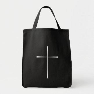 Branco da cruz do livro de oração bolsa de lona