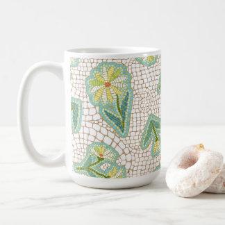 Branco das margaridas do mosaico caneca do