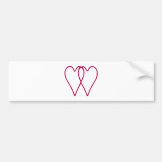 Branco de 2 corações junto os presentes de Zazzle  Adesivo Para Carro