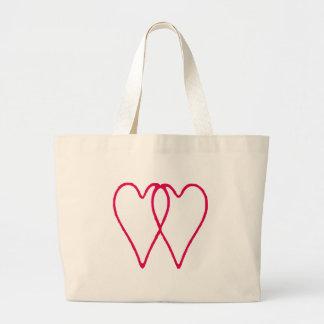 Branco de 2 corações junto os presentes de Zazzle  Bolsa Para Compras