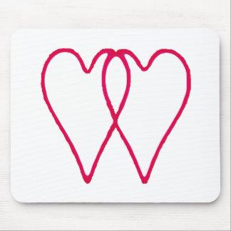 Branco de 2 corações junto os presentes de Zazzle  Mouse Pads