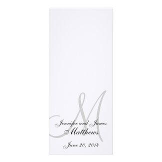 Branco de linho do monograma do programa da igreja convites personalizados