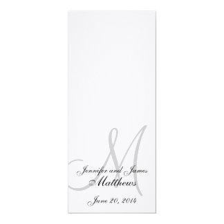 Branco de linho do monograma do programa da igreja convite 10.16 x 23.49cm