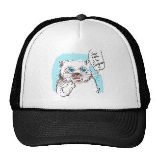 branco de pensamento do gatinho boné