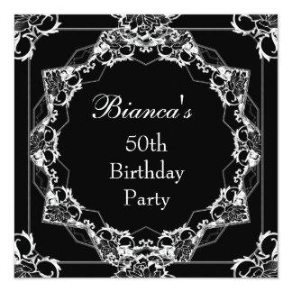 Branco de prata preto da festa de aniversário do convites personalizado