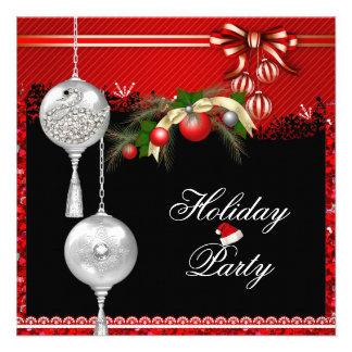 Branco de prata vermelho 2 da festa natalícia do N Convites Personalizado