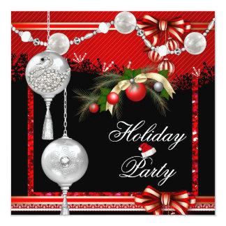 Branco de prata vermelho da festa natalícia do convite quadrado 13.35 x 13.35cm