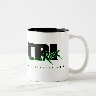 Branco de rádio dos ganhos do Tri Rock (caneca de Caneca De Café Em Dois Tons