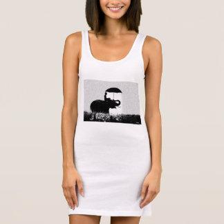 Branco de vestido do tanque do jérsei da arte da