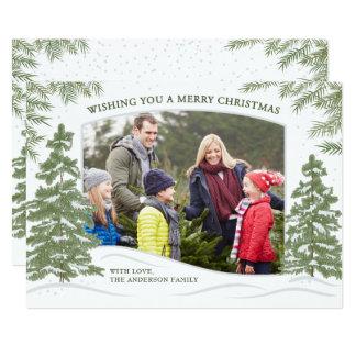 Branco do cartão de Natal da queda de neve da