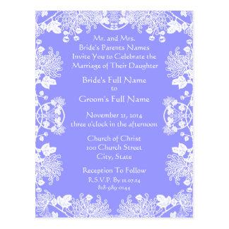 Branco do convite do casamento no vintage do azul