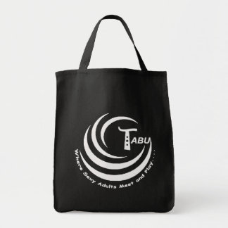 Branco do logotipo do tabu com nome e slogan GRAND Sacola Tote De Mercado
