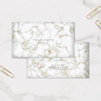 Branco do ouro do cartão da nomeação do mármore