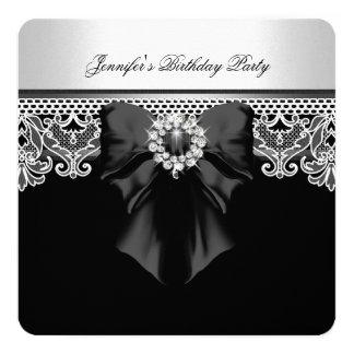 Branco do preto da festa de aniversário da imagem convite quadrado 13.35 x 13.35cm