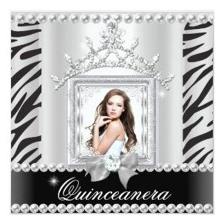 Branco do preto da zebra da festa de aniversário convite personalizados