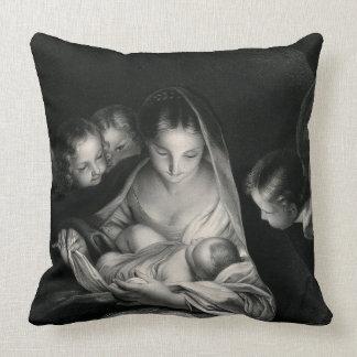 Branco do preto dos anjos da Virgem Maria de Jesus Almofada