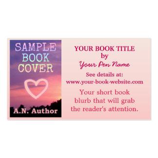 Branco do rosa da capa do livro da promoção do aut cartoes de visita