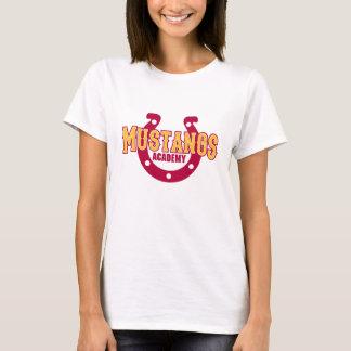 Branco do t-shirt da academia dos mustang camiseta