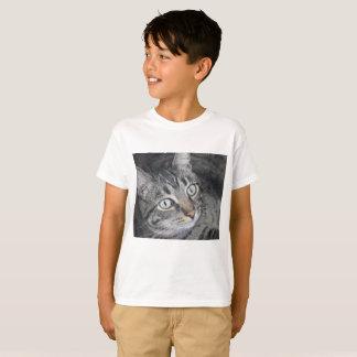 Branco do t-shirt das crianças da foto do gato camiseta