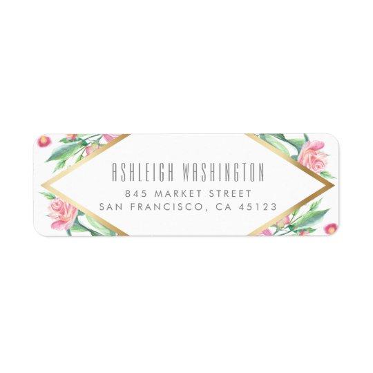Branco dos rosas do rosa da aguarela & casamento etiqueta endereço de retorno