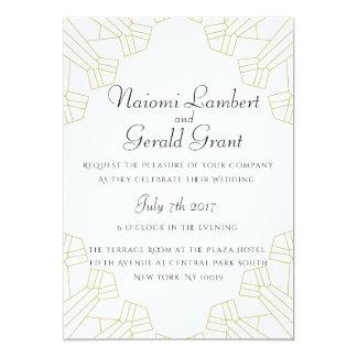 Branco dourado do convite do casamento da idade