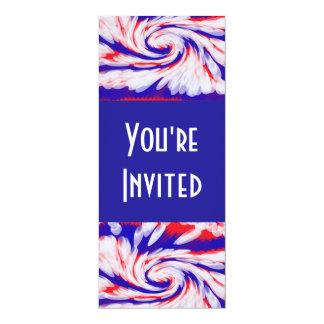 branco e azul vermelhos convite 10.16 x 23.49cm