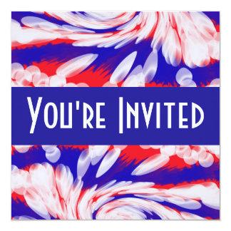 branco e azul vermelhos convite quadrado 13.35 x 13.35cm