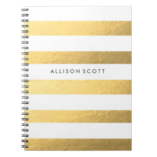 Branco e caderno personalizado ouro