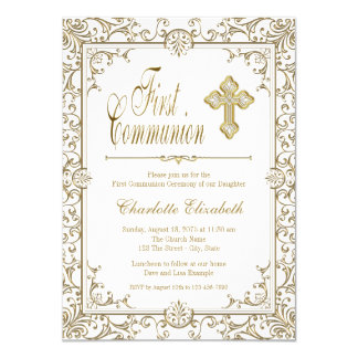 Branco e convites do comunhão do ouro primeiros