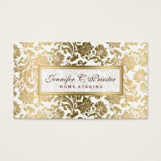 Branco e damascos florais do ouro cartão de visitas