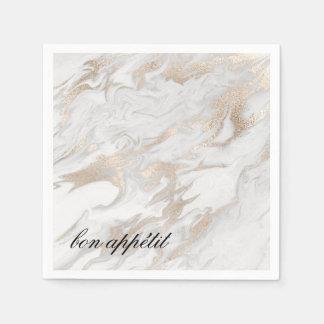 Branco e guardanapo de papel marmoreados do ouro