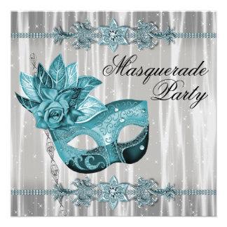Branco elegante e partido azul do mascarada da cer convite personalizado