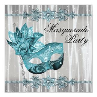 Branco elegante e partido azul do mascarada da convite quadrado 13.35 x 13.35cm
