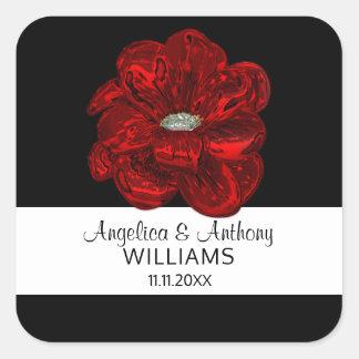 Branco elegante, preto, selos do casamento da flor adesivo quadrado