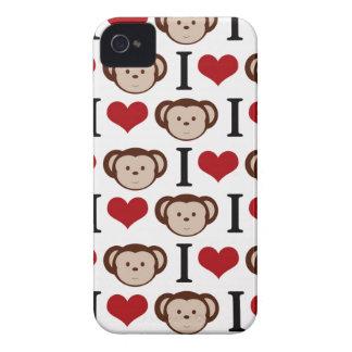 Branco eu amo a caixa de Blackberry dos macacos Capinhas iPhone 4