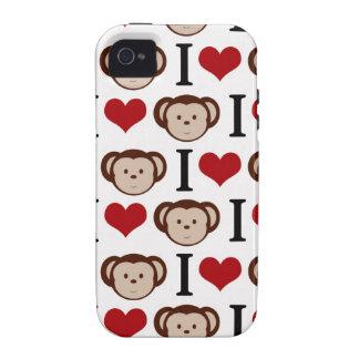 Branco eu amo o capa de iphone 4 dos macacos capas para iPhone 4/4S